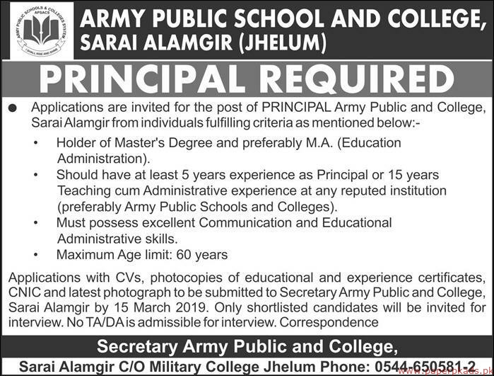 Army Public School and College Jobs 2019 Latest