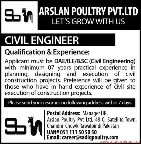 Arslan Poultry Private Limited Jobs 2019 Latest