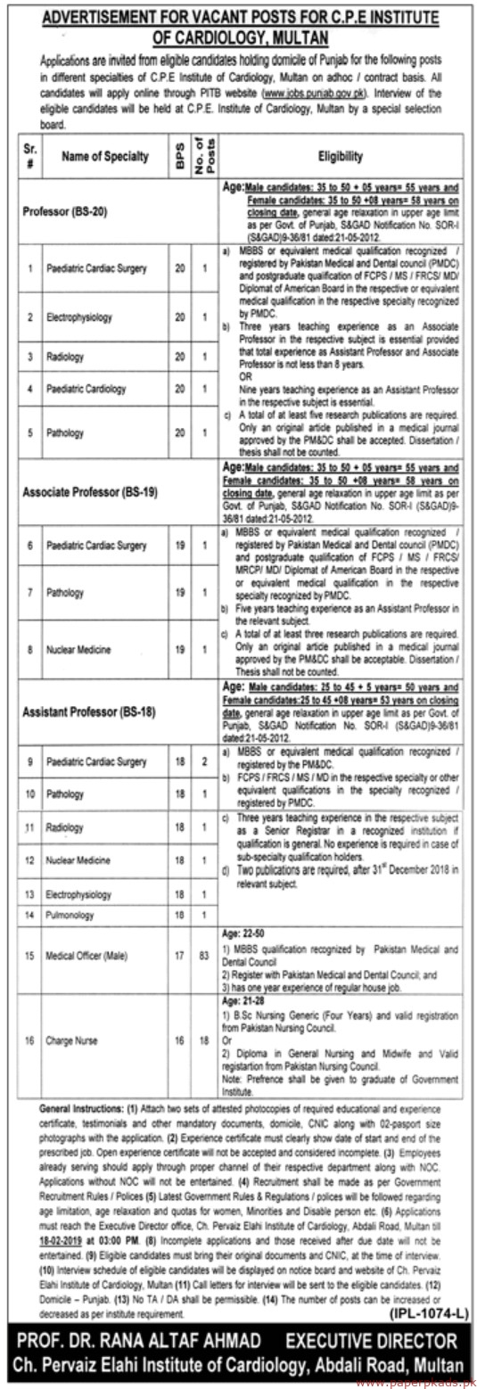 CPE Institute of Cardiology Jobs 2019 Latest