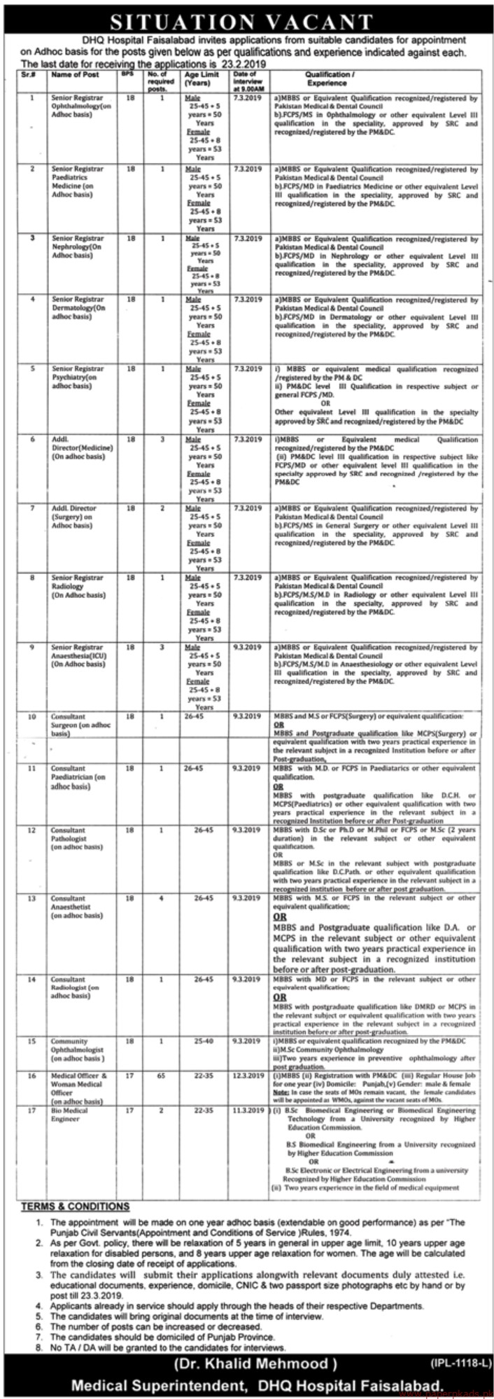 DHQ Hospital Jobs 2019 Latest