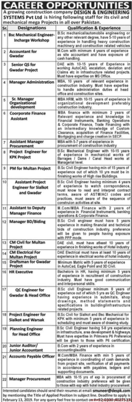 Design Engineering Systems Private Limited Jobs 2019 Latest Paperpk Com