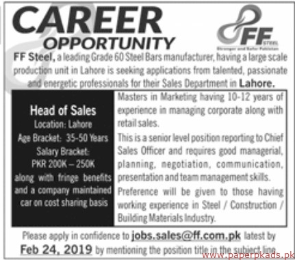 FF Steel Jobs 2019 Latest