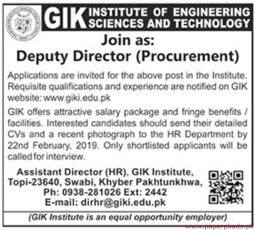 GIK Institute of Engineering Sciences and Technology Latest Jobs 2019