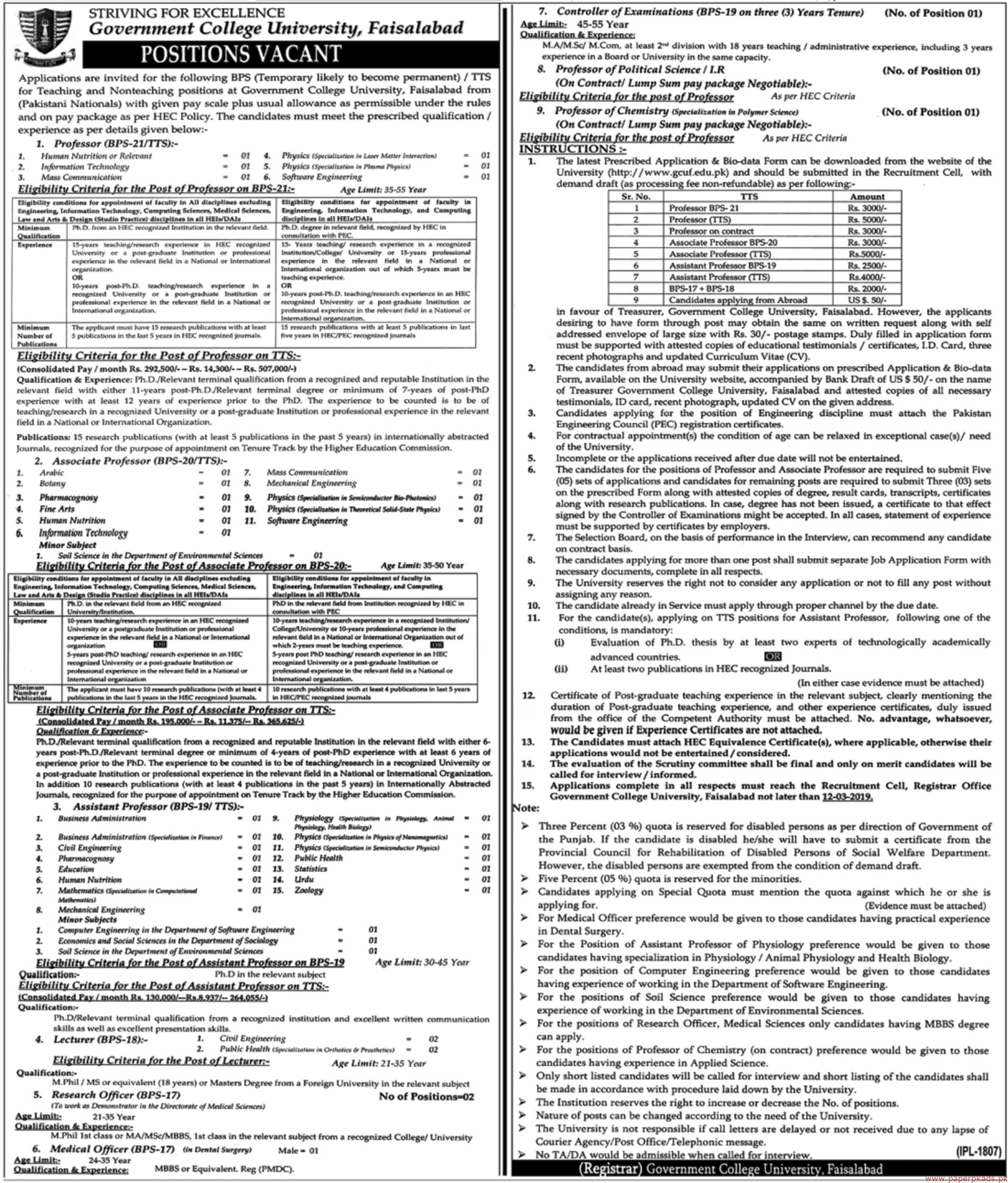 Government College University Faisalabad Jobs 2019 Latest