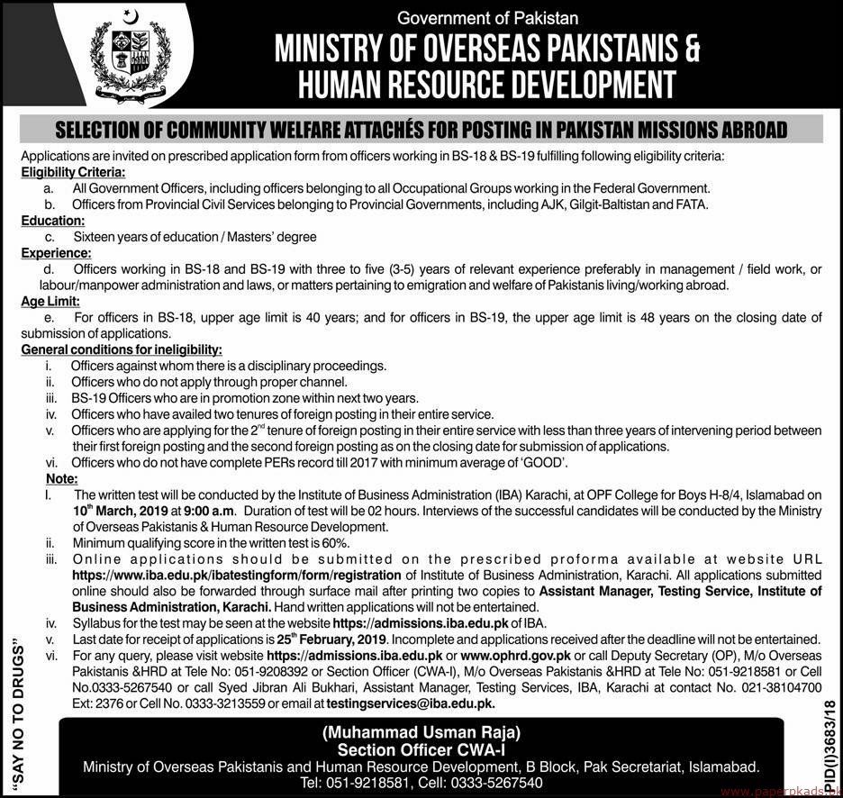 Government of Pakistan - Ministry of Overseas Pakistanis & Human Resource Development Jobs 2019 Latest