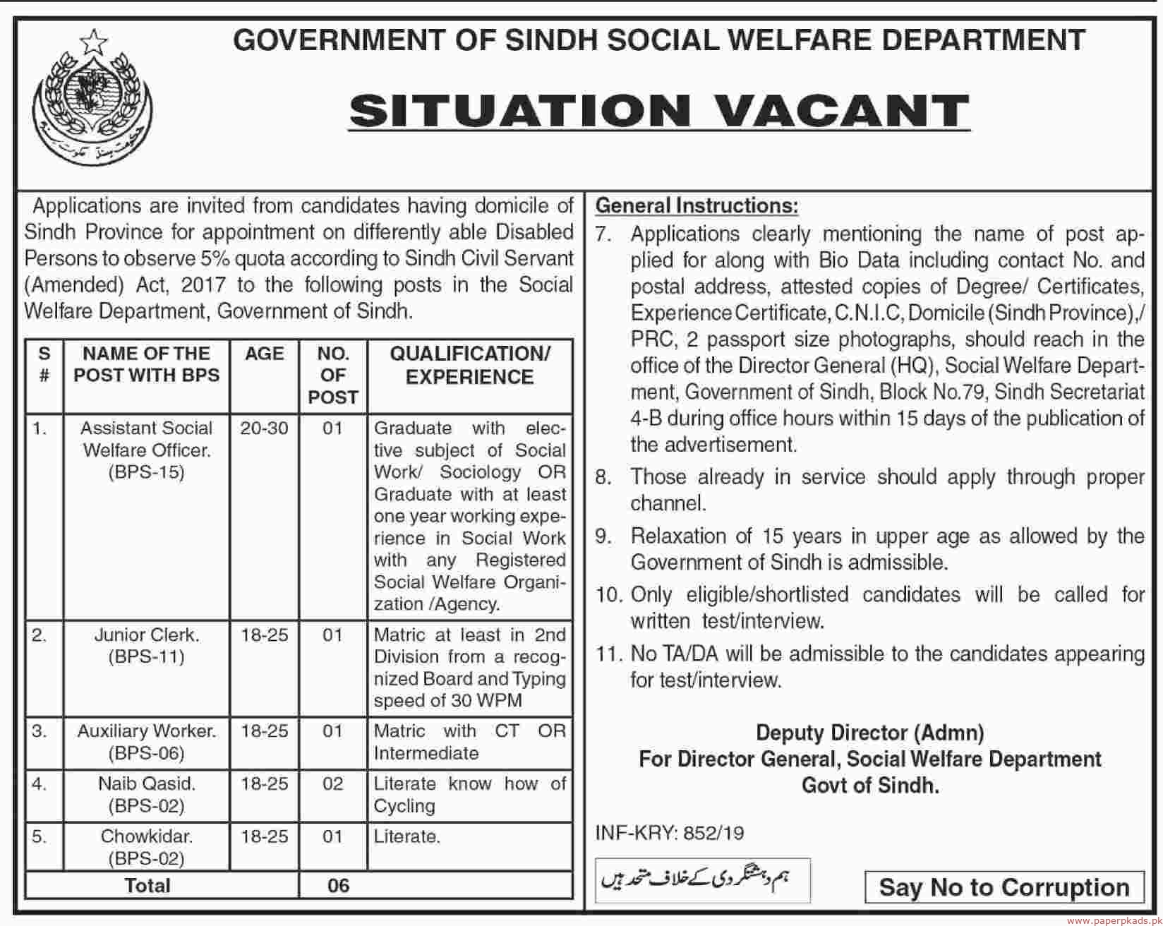 Government of Sindh - Social Welfare Department Jobs 2019 Latest