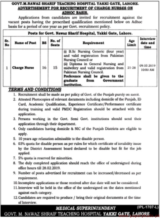 Govt M Nawaz Sharif Teaching Hospital Jobs 2019 Latest