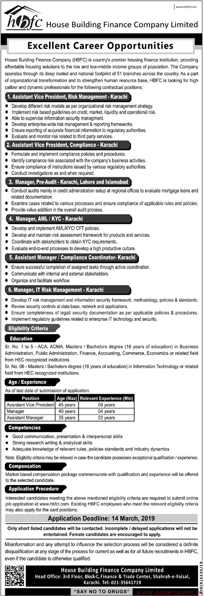 House Building Finance Company Limited (HBFC) Jobs 2019 Latest