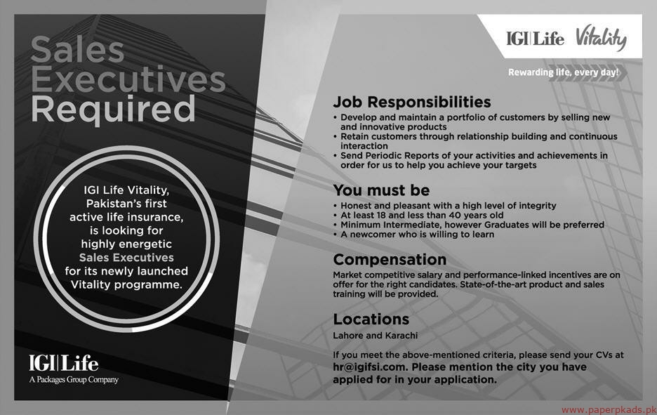 IGI Life Packages Group Company Jobs 2019 Latest