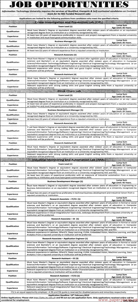 Information Technology University (ITU) Jobs 2019 Latest