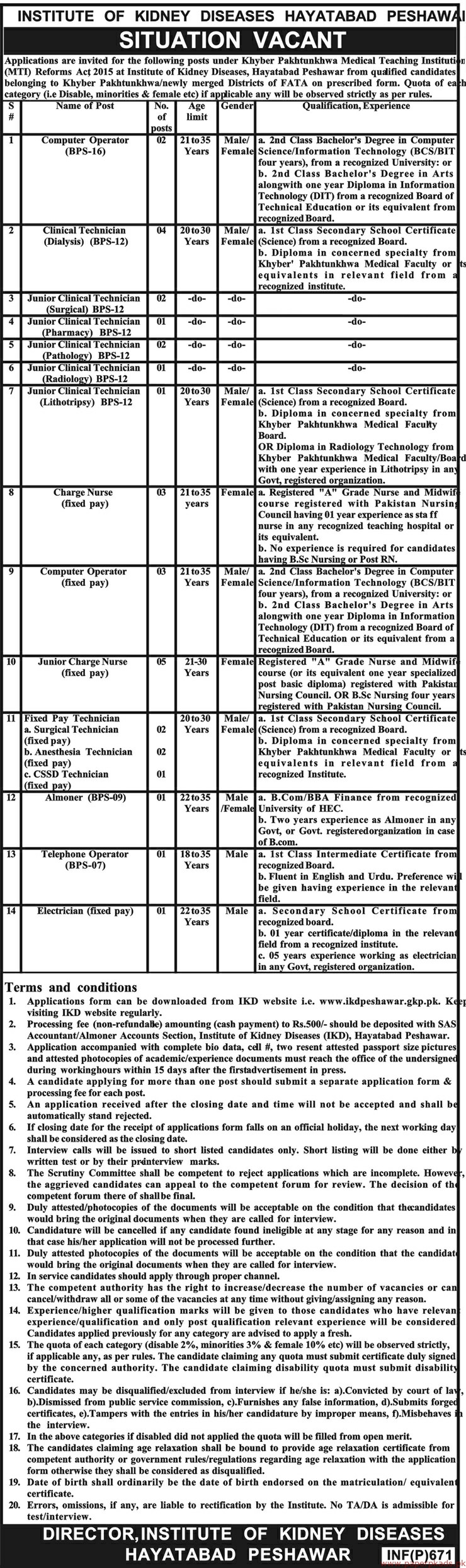 Institute of Kidney Diseases Hayatabad Jobs 2019 Latest