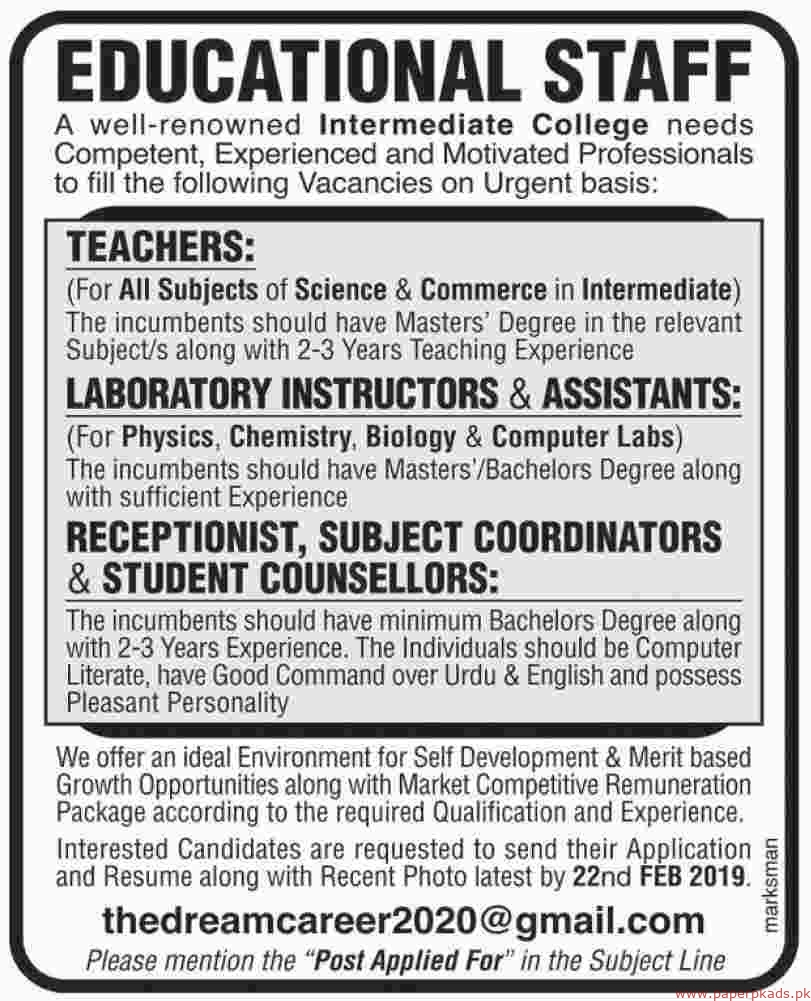 Intermediate College Jobs 2019 Latest