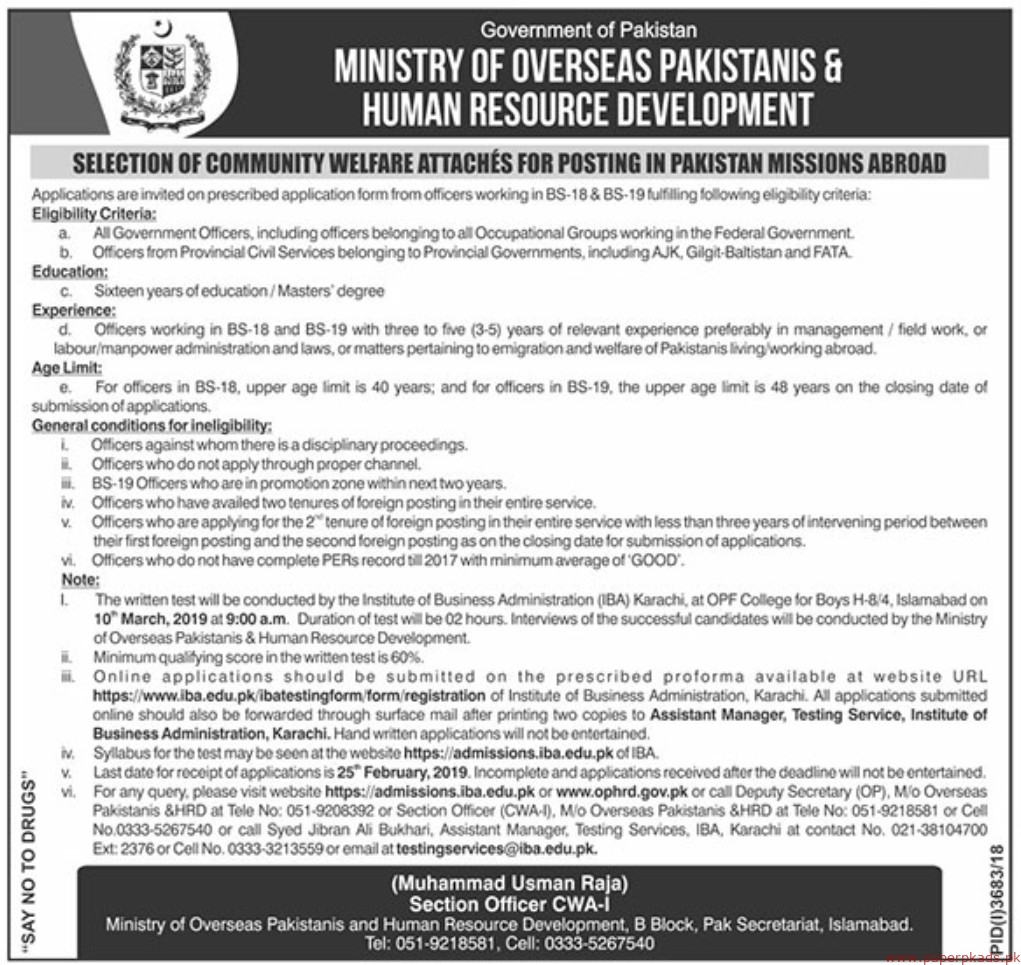 Ministry of Overseas Jobs 2019 Latest