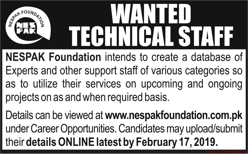 NESPAK Foundation Jobs 2019 Latest