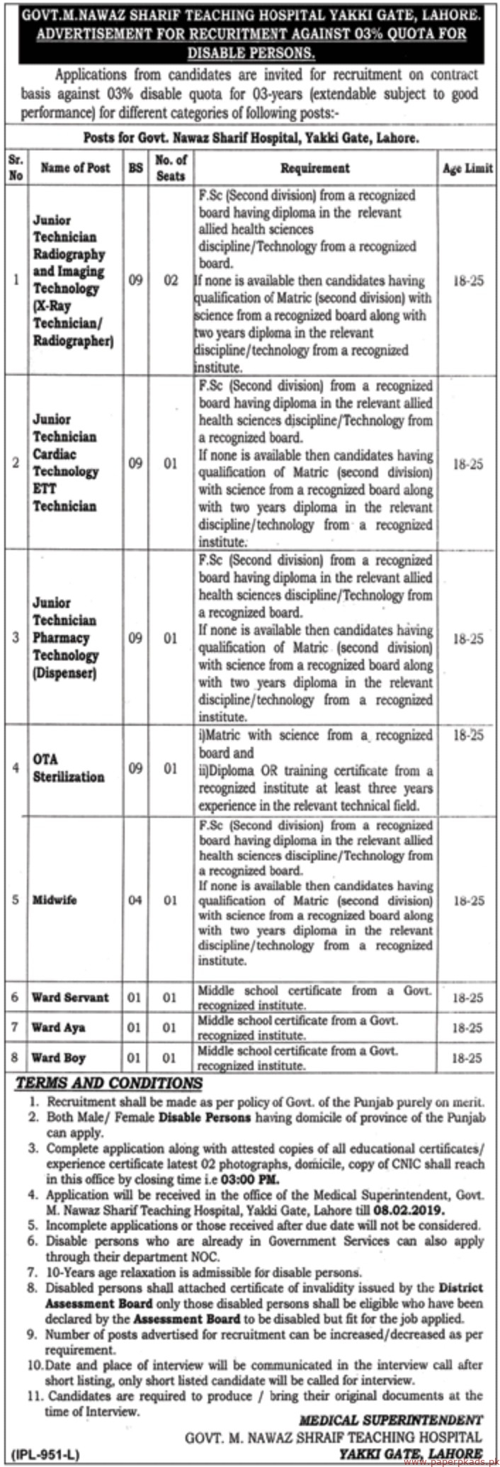 Nawaz Sharif Teaching Hospital Lahore Jobs 2019 Latest