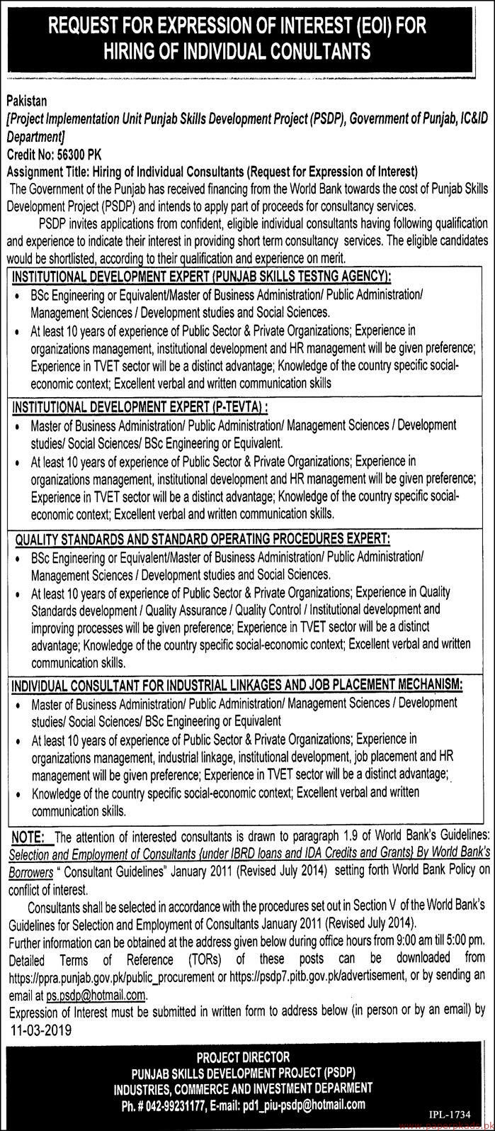 Project Implementation Unit Punjab Skills Development Project Jobs 2019 Latest