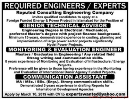 Reputed Consulting Engineering Company Jobs 2019 Latest