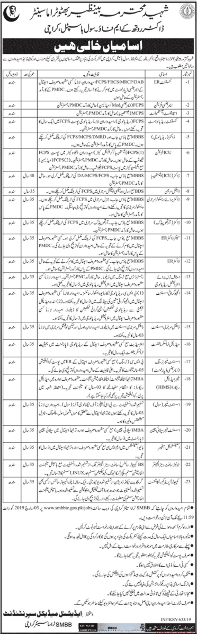 Shaheed Mohtarma Benazir Bhutto Accident Emergency & Trauma Centre Jobs 2019 Latest