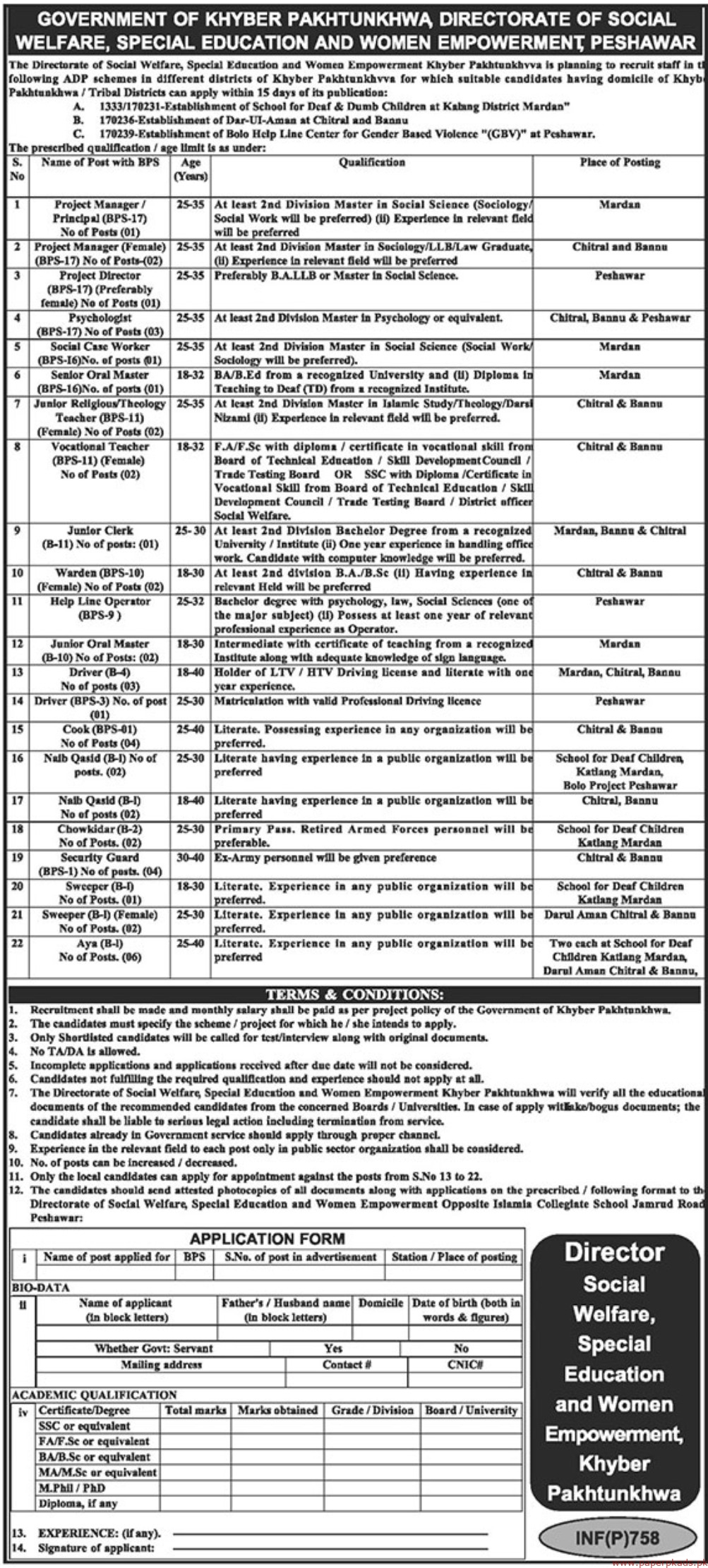 Social Welfare Special Education and Women Empowerment Khyber Pakhtunkhwa Jobs 2019 Latest