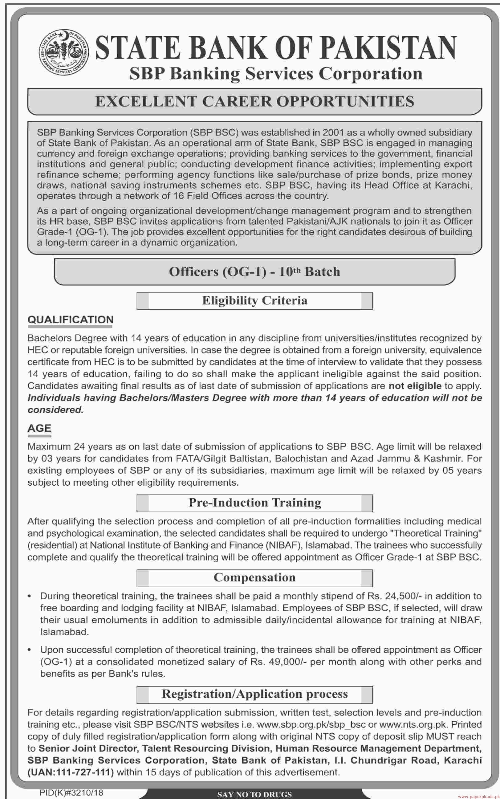 State Bank of Pakistan Jobs 2019 Latest