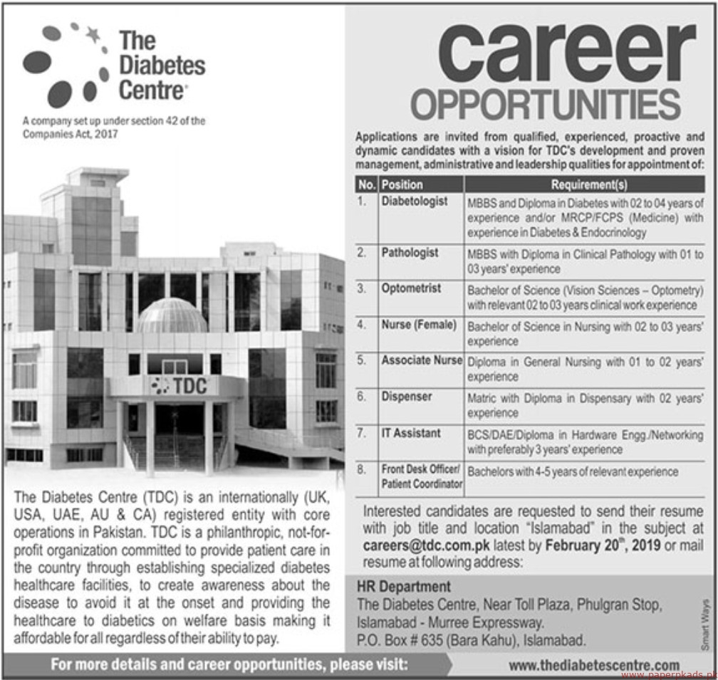The Diabetes Centre (TDC) Jobs 2019 Latest