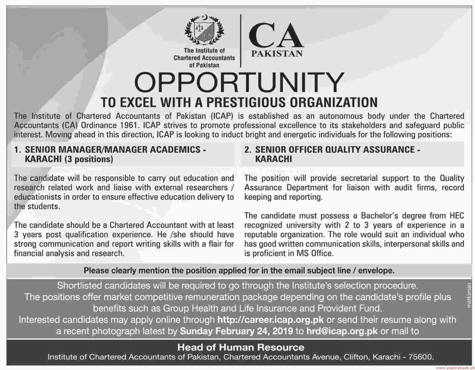 The Institute of Chartered Accountant of Pakistan (ICAP) Jobs 2019 Latest