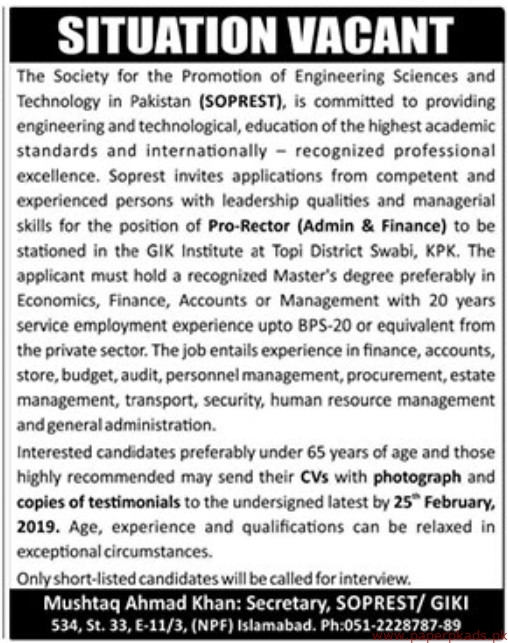 The Society for the Promotion of Engineering Sciences and Technology in Pakistan (SOPREST) Jobs 2019 Latest