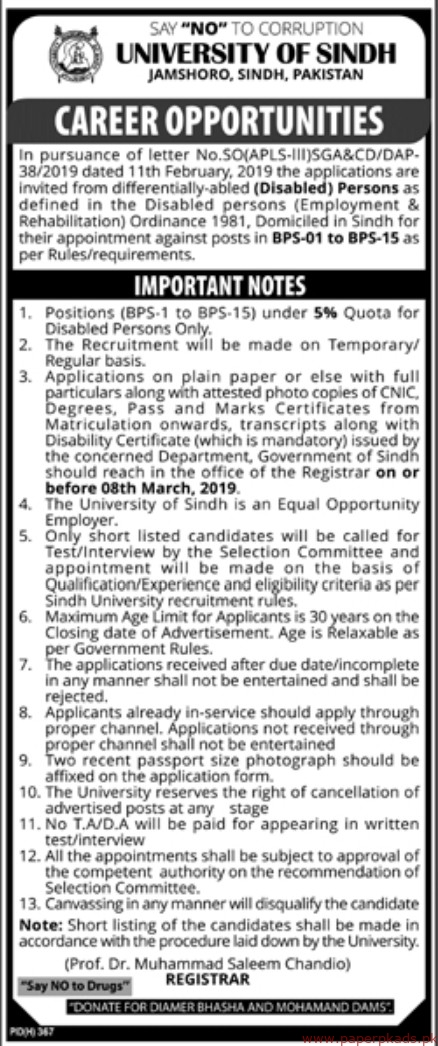 University of Sindh Jobs 2019 Latest