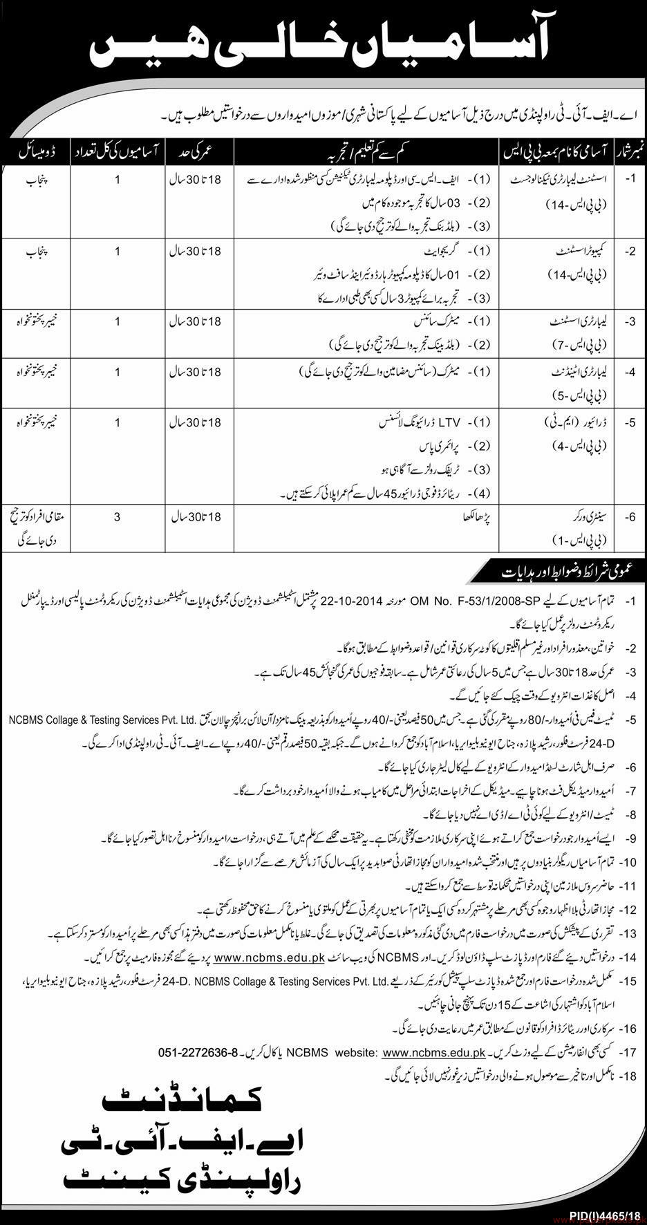 AFIT Rawalpindi Cantt Jobs 2019 Latest