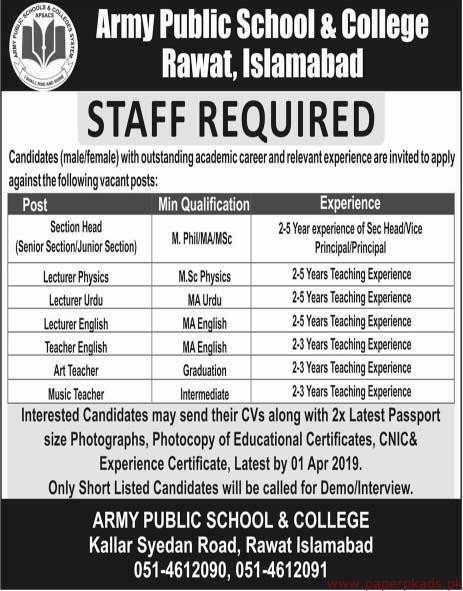 Army Public School & College Islamabad Jobs 2019 Latest