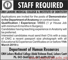 CMH Lahore Medical College & Institute of Dentistry Jobs 2019 Latest