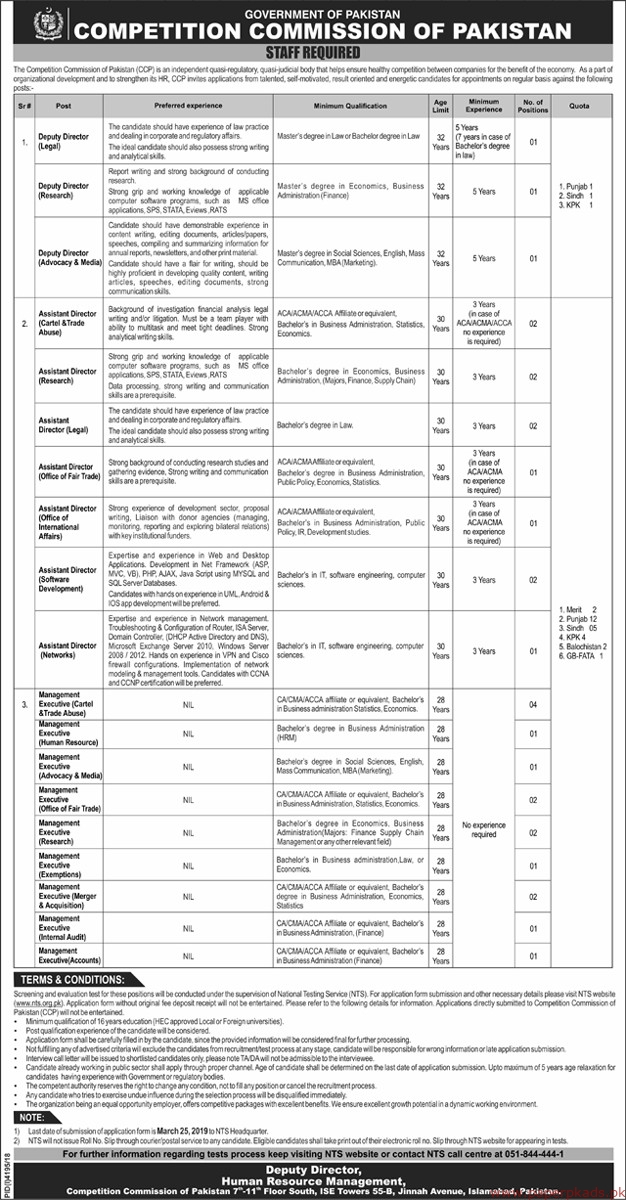 Competition Commission of Pakistan Jobs 2019 Latest