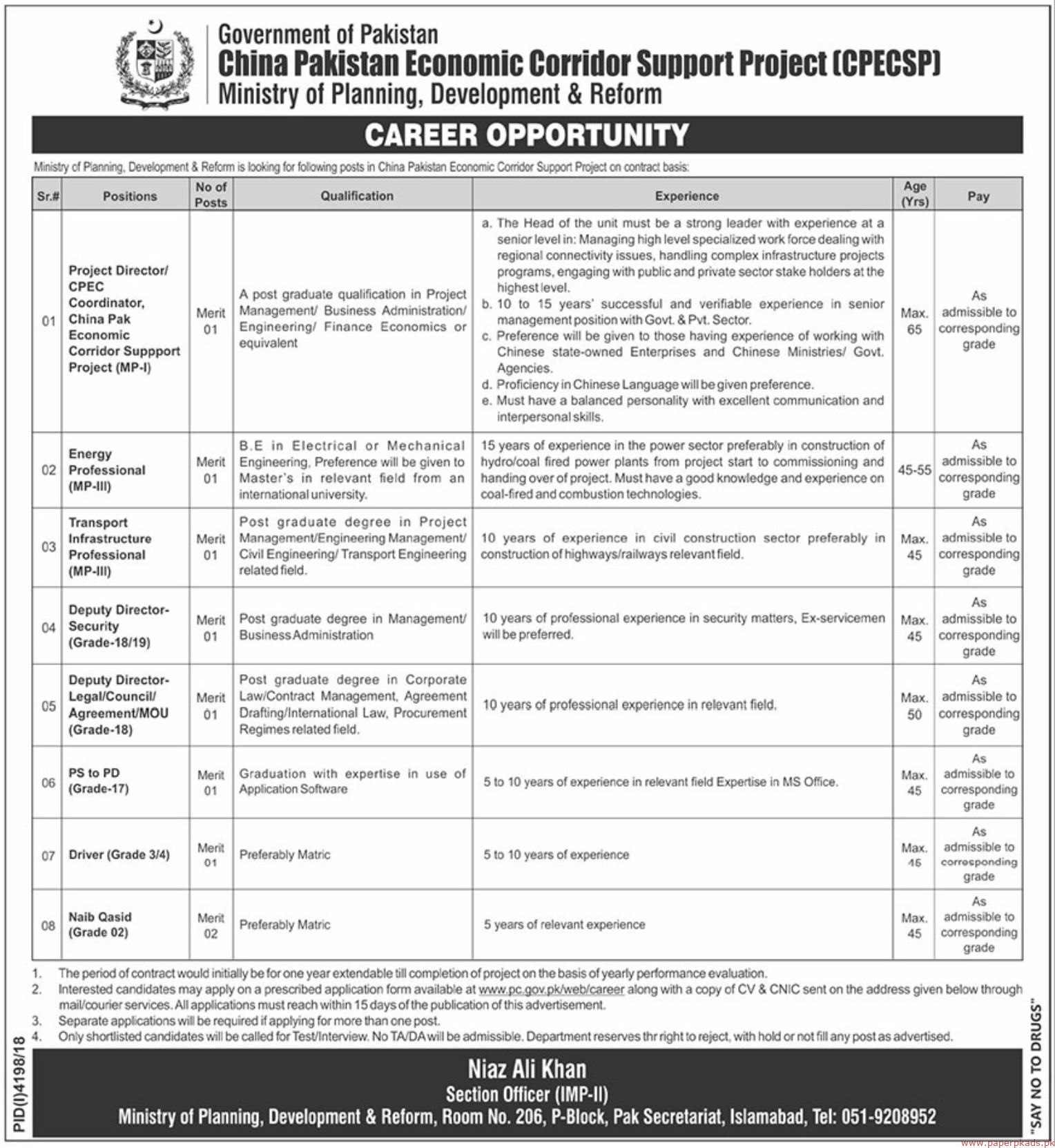 Government of Pakistan - Ministry of Planning Development & Reforms Jobs 2019 Latest