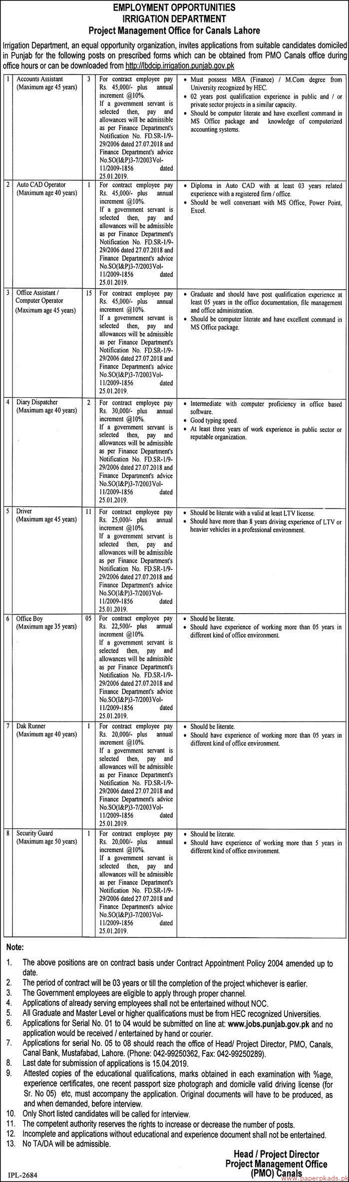 Government of the Punjab - Irrigation Department Jobs 2019 Latest
