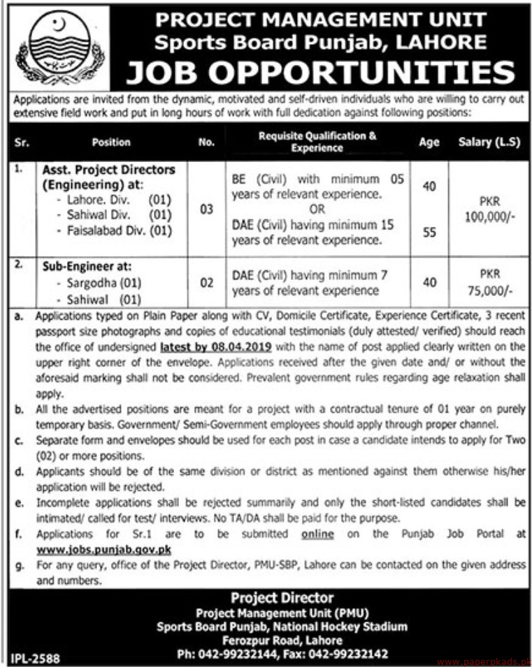 Government of the Punjab - Project Management Unit Jobs 2019 Latest