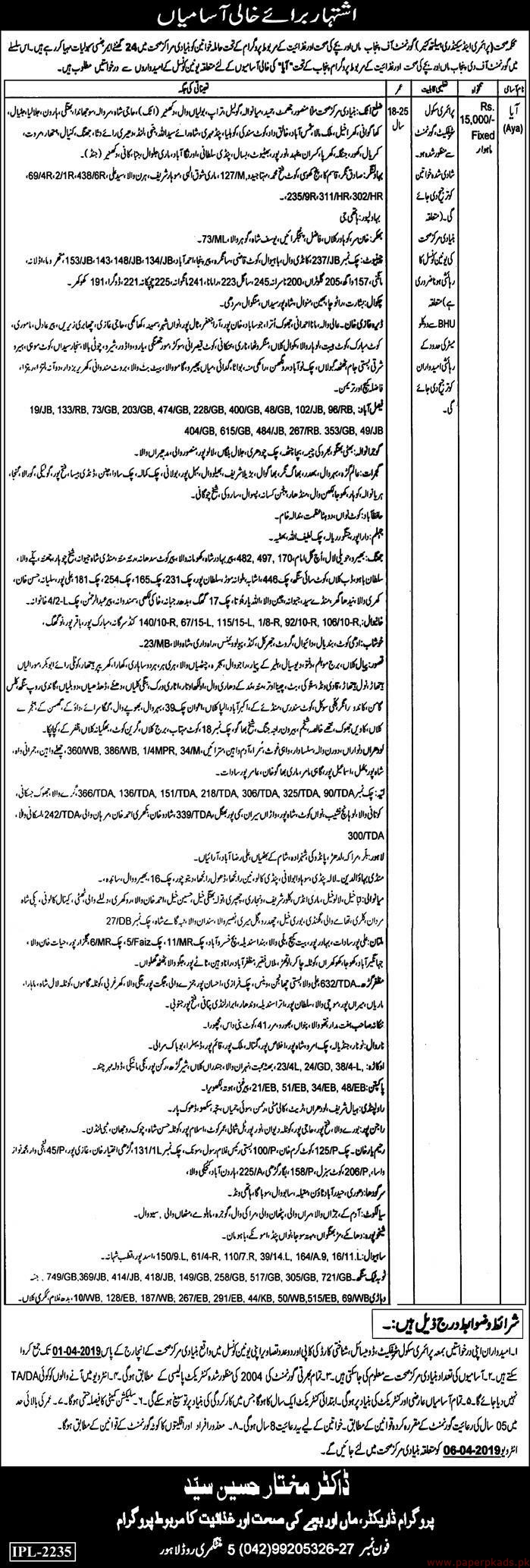 Health Department Government of the Punjab Jobs 2019 Latest