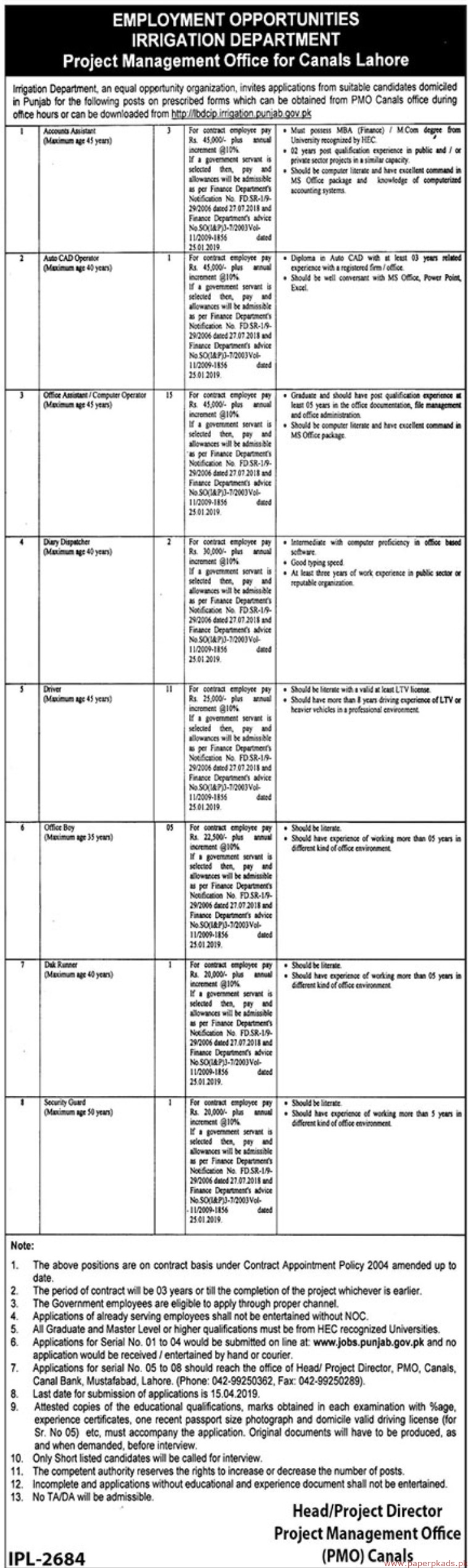 Irrigation Department Project Management Office Jobs 2019 Latest