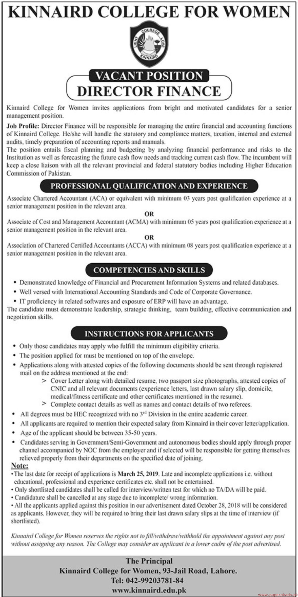 Kinnaird College for Women Jobs 2019 Latest