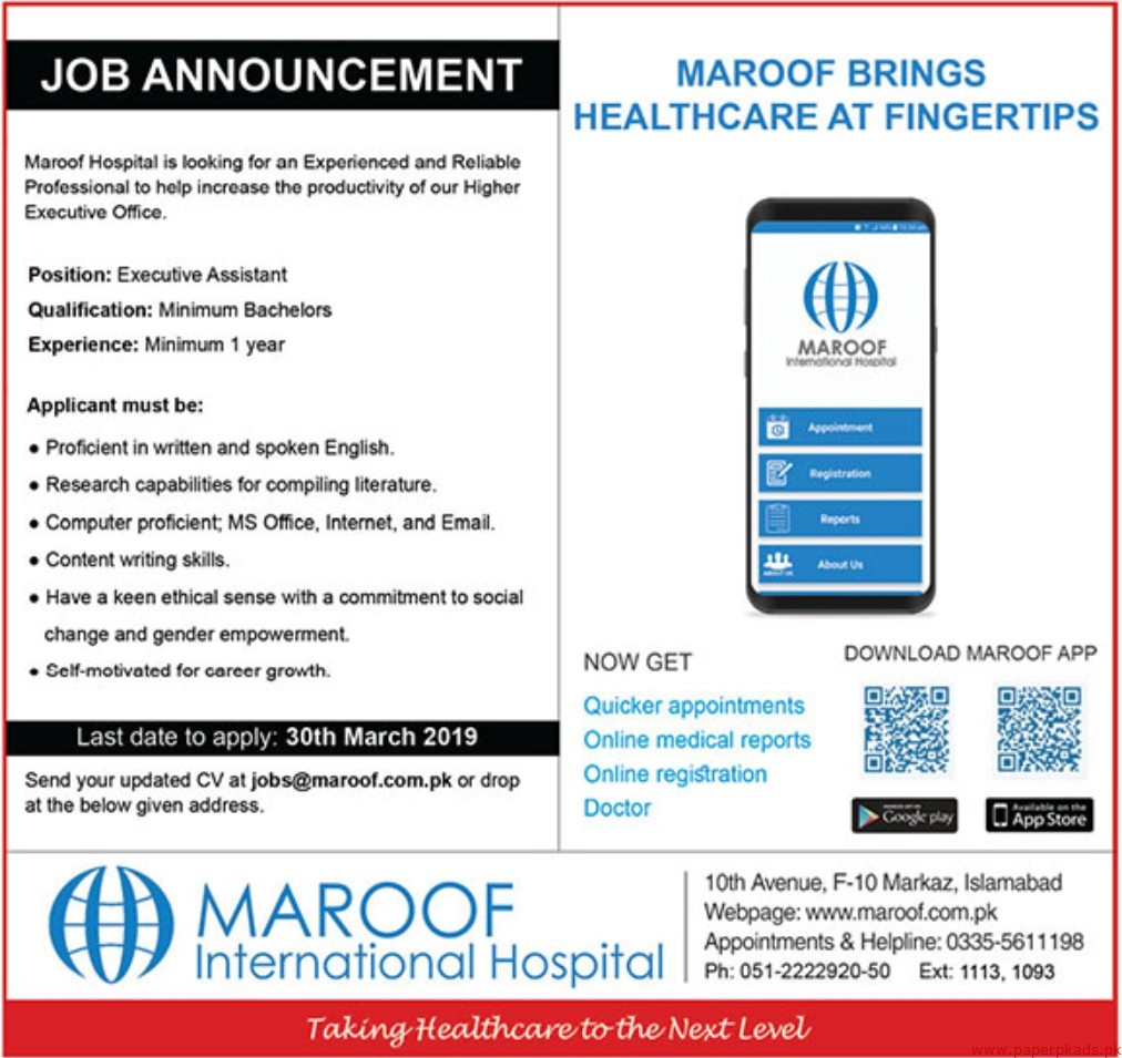 Maroof International Hospital Jobs 2019 Latest