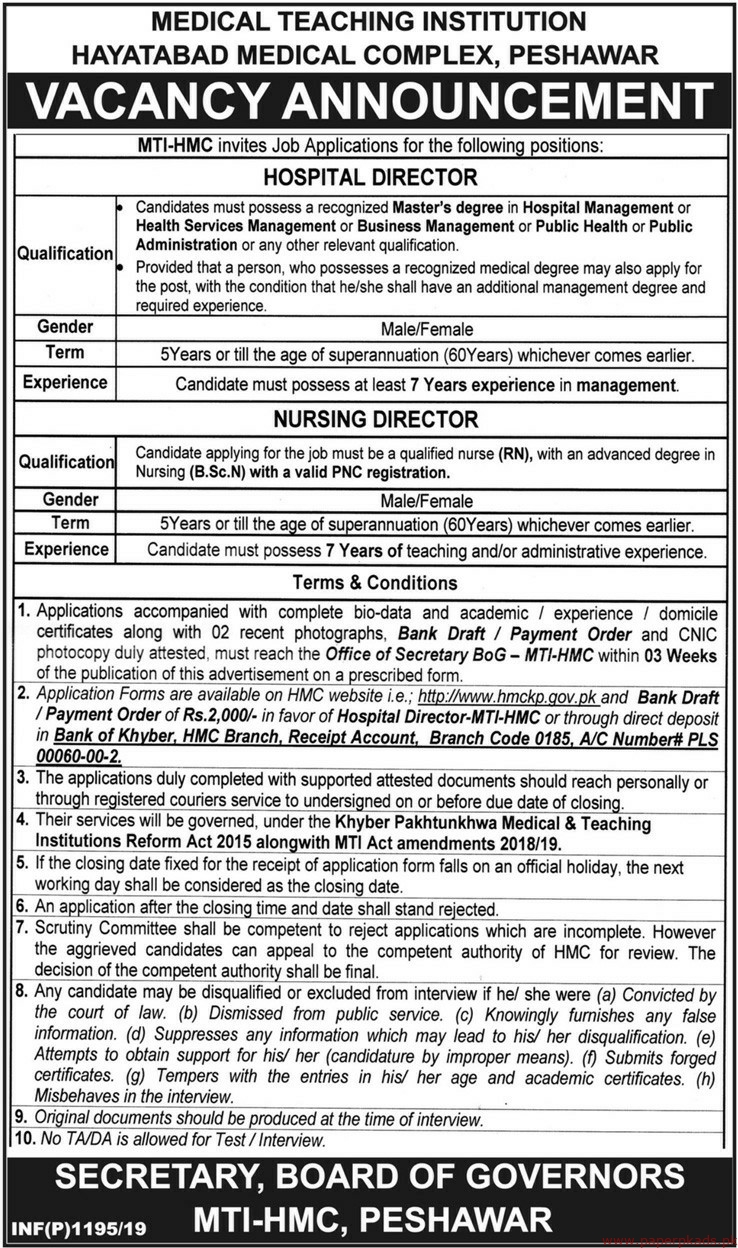 Medical Teaching Institution Hayatabad Medical Complex Jobs 2019 Latest
