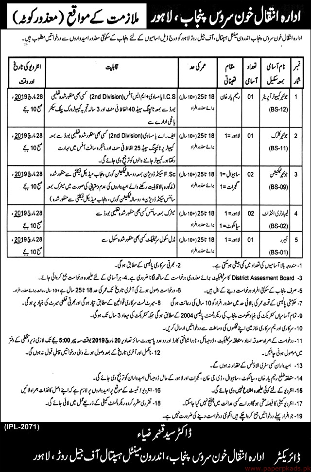 Mental Hospital Jobs 2019 Latest