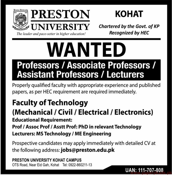 PRESTON University Jobs 2019 Latest