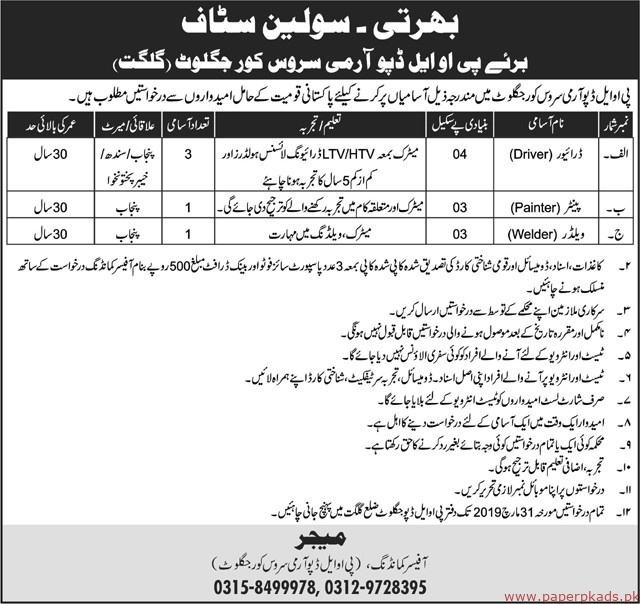 Pakistan Army Jobs 2019 Latest