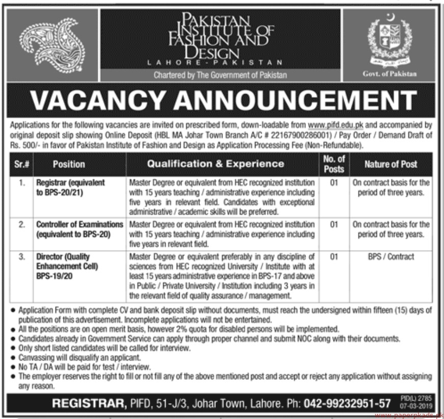 Pakistan Institute Of Fashion And Design Jobs Latest 2019