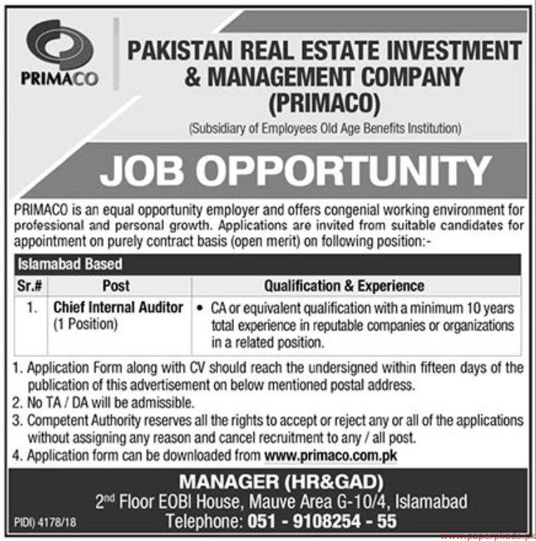 Pakistan Real Estate Investment & Management Company (PRIMACO) Jobs 2019 Latest