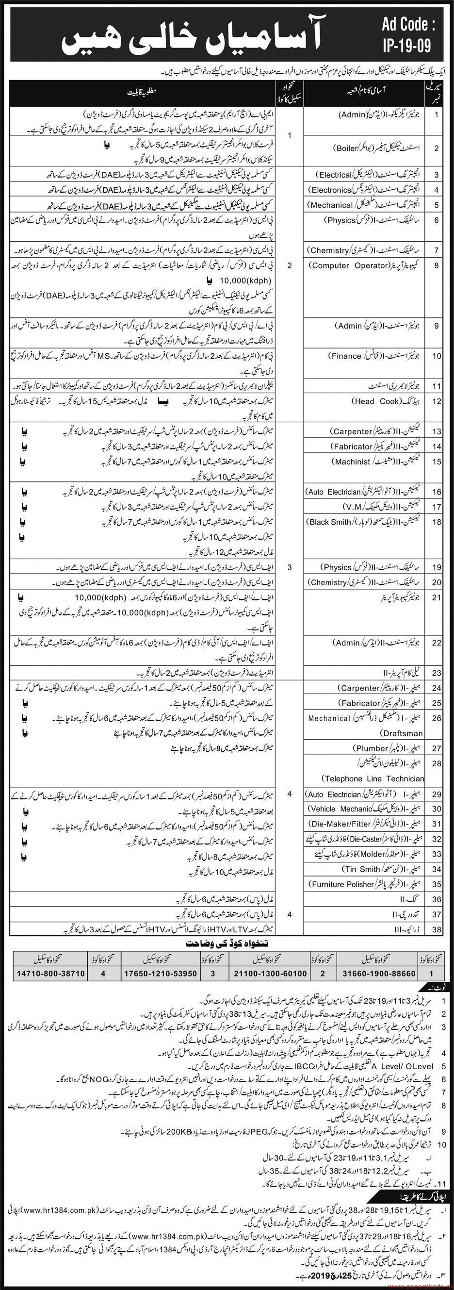 Public Sector Scientific and Technical Organization Latest Jobs 2019