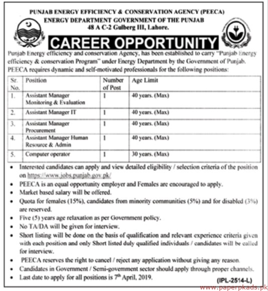 Punjab Energy Efficiency & Conservation Agency (PEECA) Jobs 2019 Latest