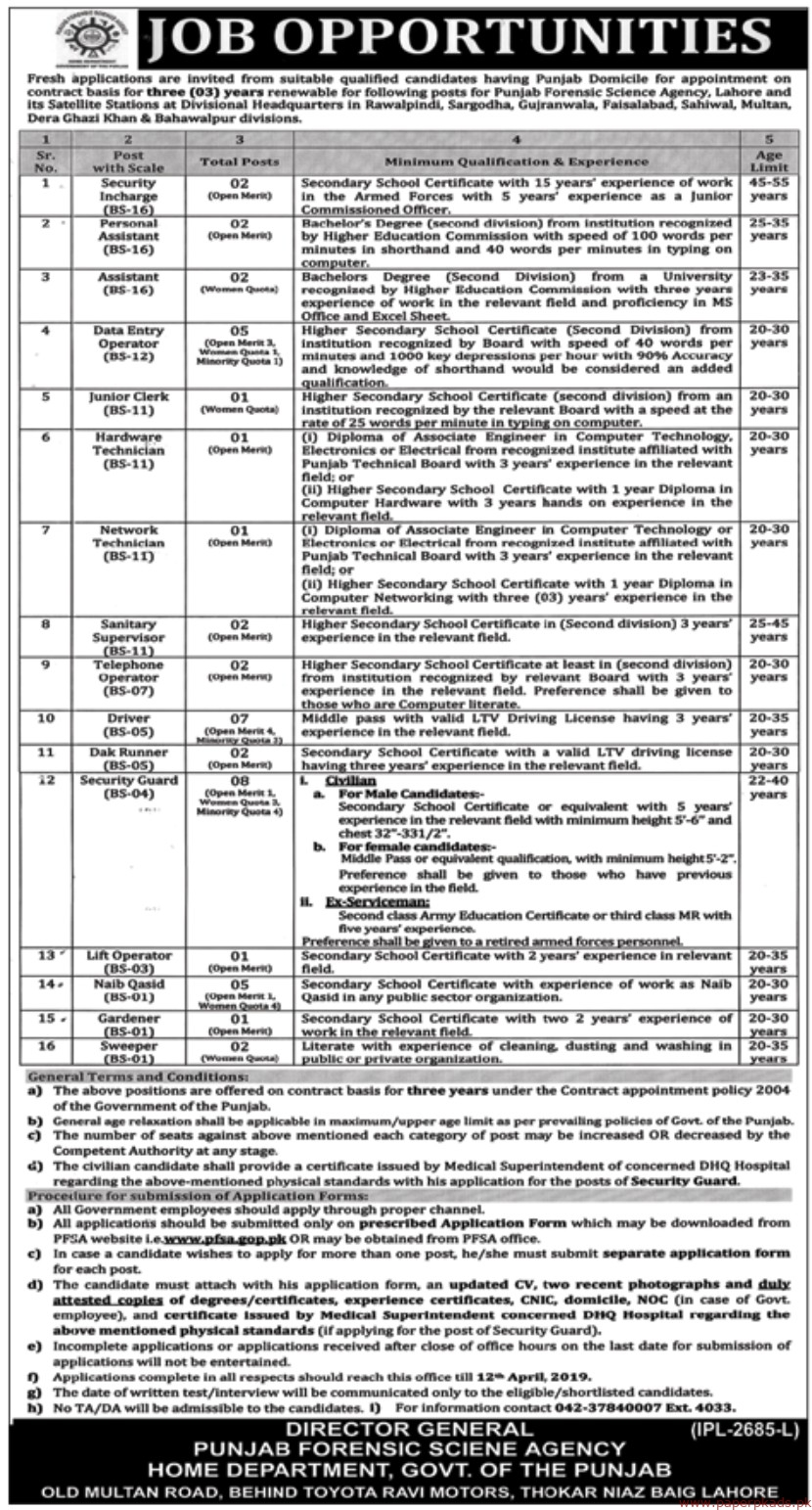 Punjab Forensic Science Agency Jobs 2019 Latest