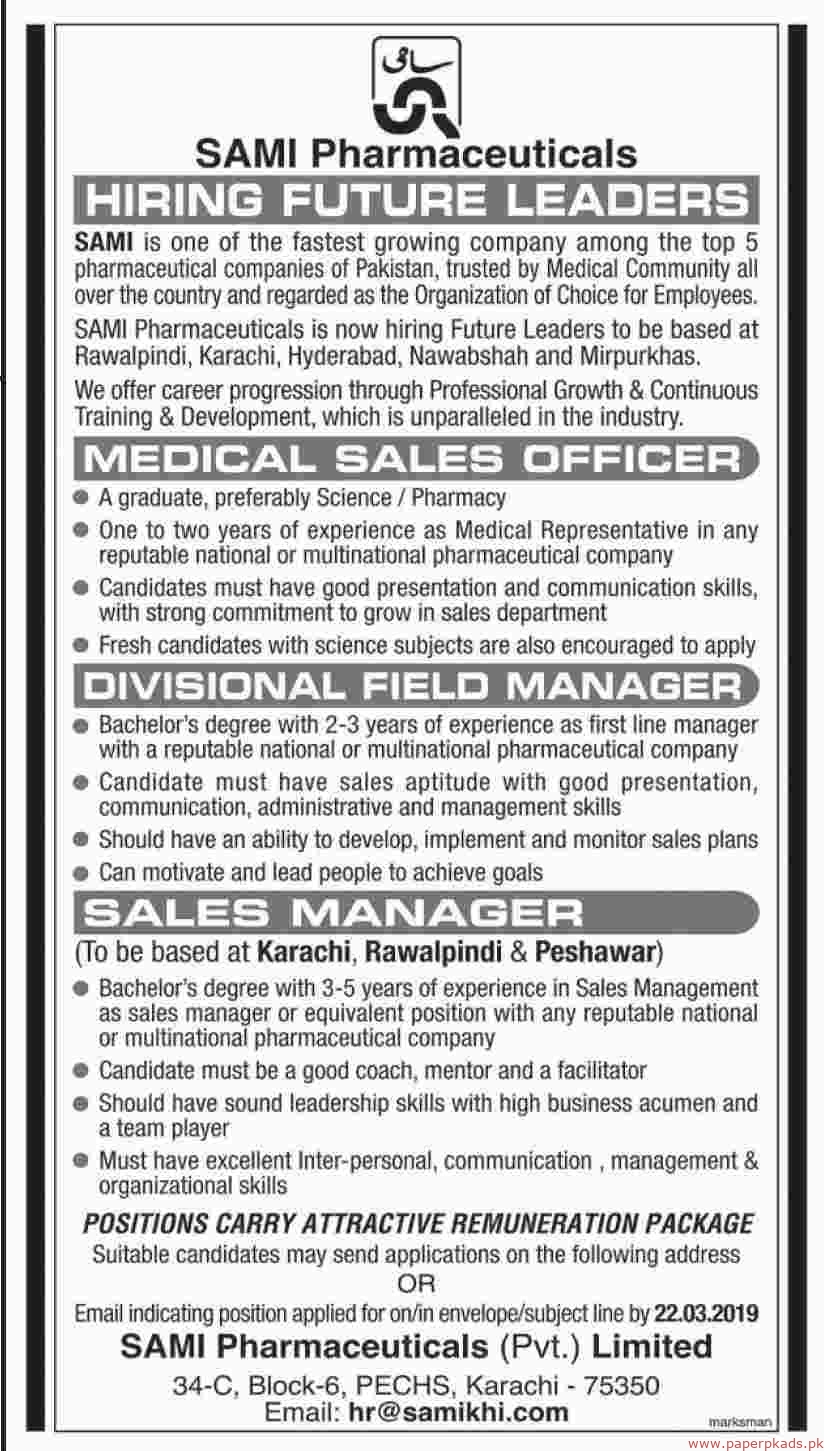 SAMI Pharmaceuticals Pvt Limited Jobs 2019 Latest