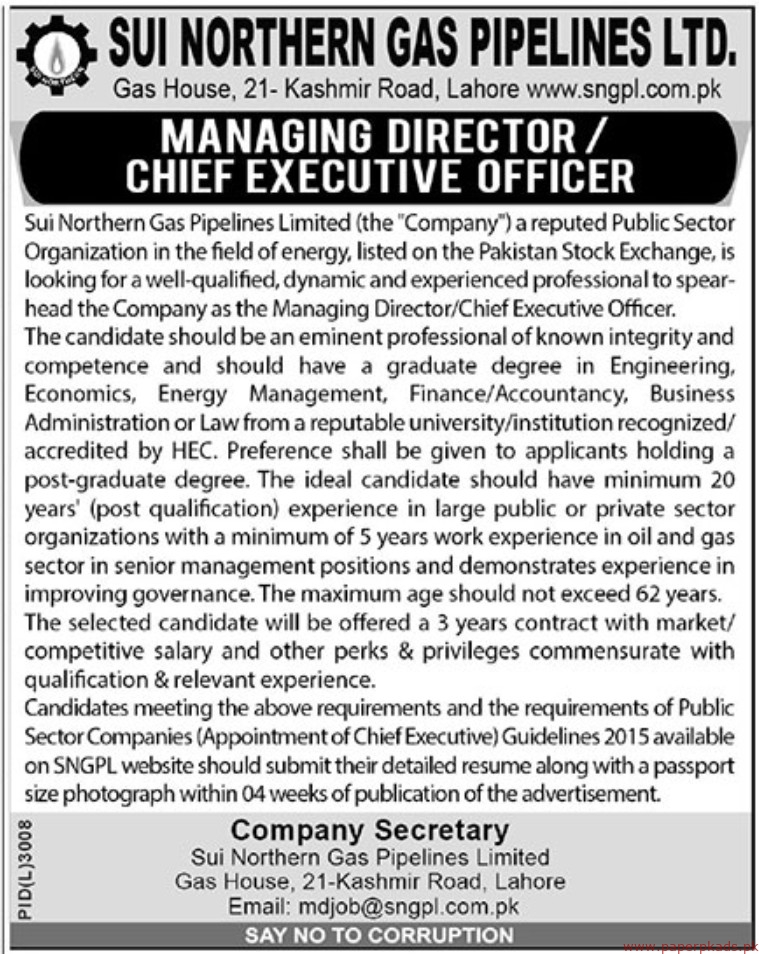 SUI Northern Gas Pipelines Limited SNGPL Jobs 2019 Latest